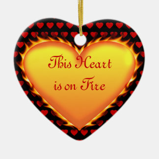 This Heart is on Fire..Will You Marry Me? Ceramic Ornament