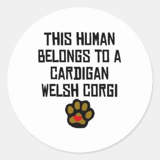 This Human Belongs To A Cardigan Welsh Corgi Round Sticker
