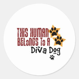 This Human Belongs to a Diva Dog Round Sticker
