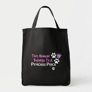 This Human Belongs to a Princess Pooch Tote Bags