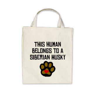 This Human Belongs To A Siberian Husky Canvas Bags