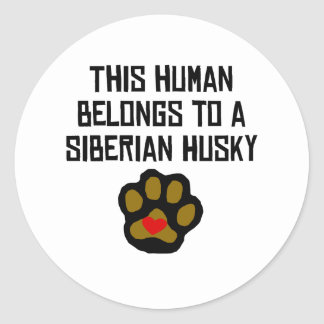 This Human Belongs To A Siberian Husky Classic Round Sticker