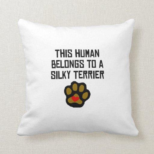 This Human Belongs To A Silky Terrier Pillows
