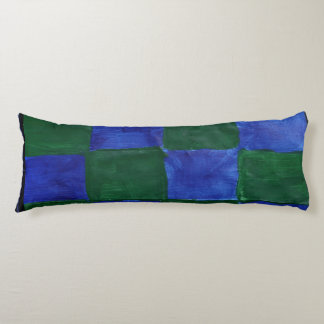 This is a body pillow that is checker blue & green