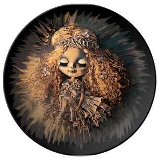 This is a Doll porcelain plate by Artful Oasis.