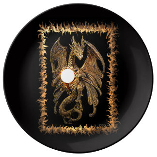 This is a Dragon porcelain plate by Artful Oasis.