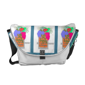 This is a floral arrangement in triplicate. courier bag