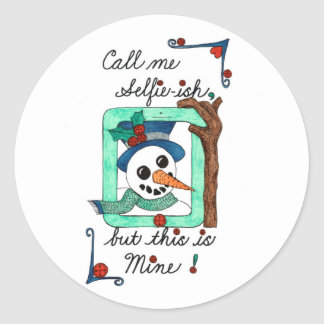 This is Mine Snowman Selfie Sticker