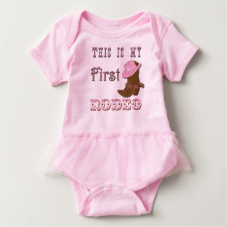 This is my first rodeo girl baby tutu baby bodysuit