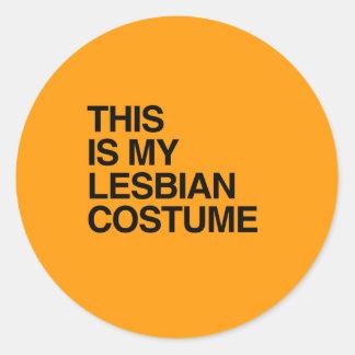 THIS IS MY LESBIAN HALLOWEEN COSTUME - Halloween - Round Sticker