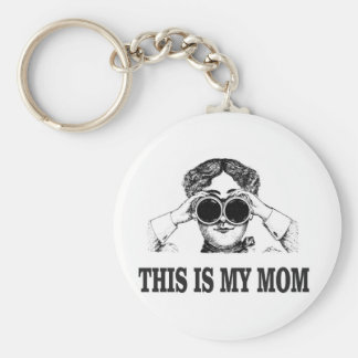 this is my mom basic round button keychain