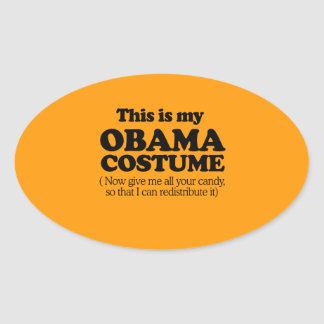 THIS IS MY OBAMA COSTUME - Halloween - png Oval Stickers