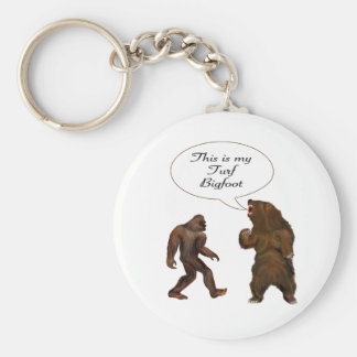 This is-my Turf Bigfoot and Grizzly Painting Gifts Basic Round Button Keychain