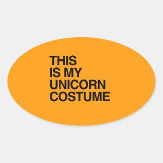THIS IS MY UNICORN HALLOWEEN COSTUME - Halloween - Oval Sticker
