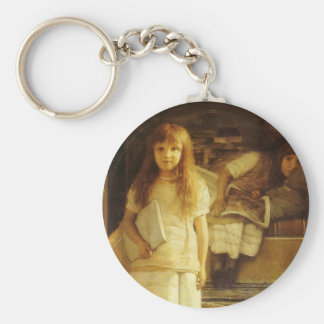 This is Our Corner by Sir Lawrence Alma Tadema Basic Round Button Keychain