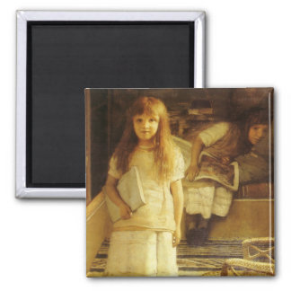 This is Our Corner by Sir Lawrence Alma Tadema Square Magnet