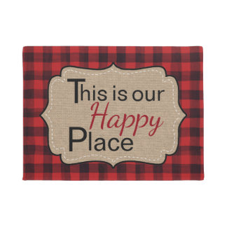 This Is Our Happy Place Red and Black Plaid Doormat