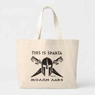 This is Sparta - Molon Lave - Black Jumbo Tote Bag