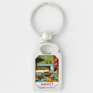 This is the Market... Silver-Colored Rectangle Keychain