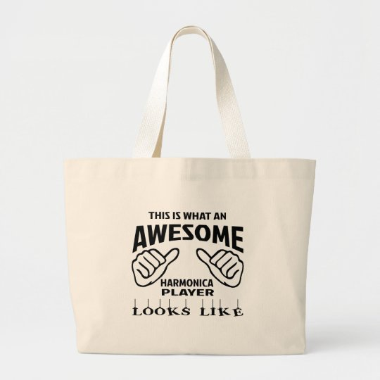 This is what an awesome harmonica player looks lik large tote bag