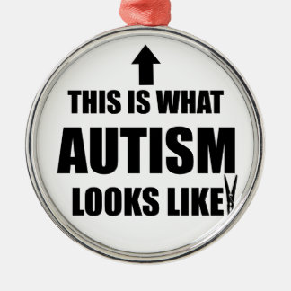 This is what autism looks like! Silver-Colored round ornament