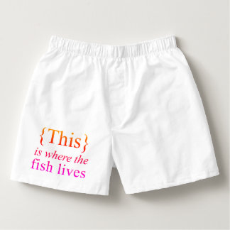 This Is Where The Fish Lives White Cotton Boxers