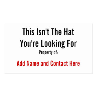 This Isn't The Hat Pack Of Standard Business Cards