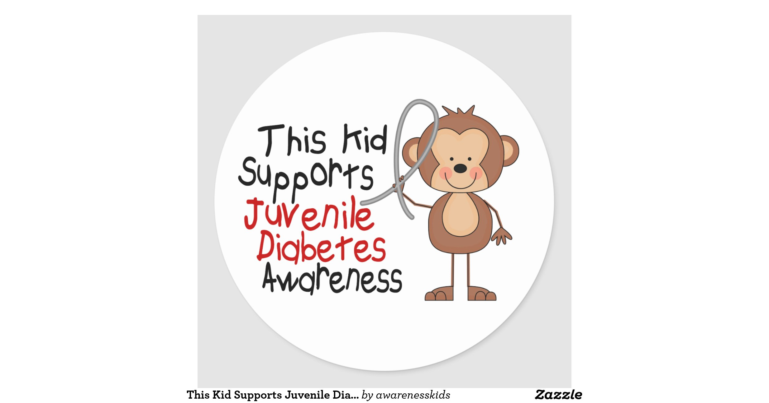 This kid supports juvenile diabetes awareness round for Stickers juveniles