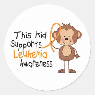 This Kid Supports Leukemia Awareness Round Sticker