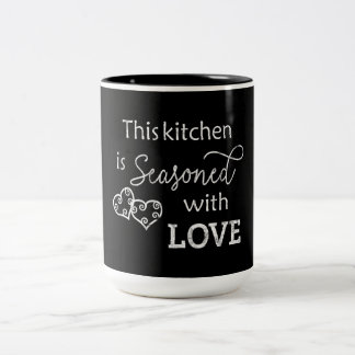 This Kitchen is Seasoned With Love Chalk Style Two-Tone Coffee Mug
