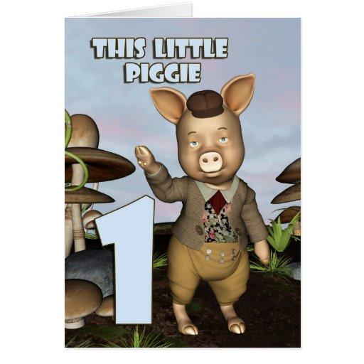 This little piggie First Birthday Card