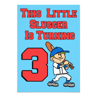 This Little Slugger Is Turning 3 Baseball Theme Card