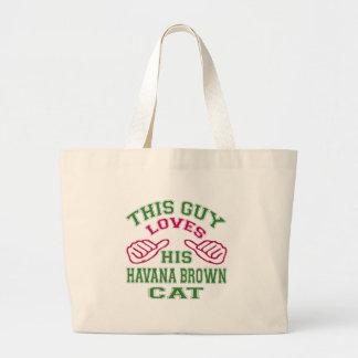 This Loves His Havana Brown Cat Tote Bags