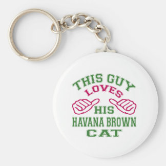 This Loves His Havana Brown Cat Keychain
