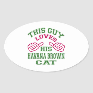 This Loves His Havana Brown Cat Oval Sticker
