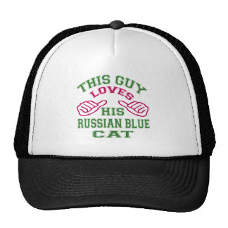 This Loves His Russian Blue Cat Trucker Hats