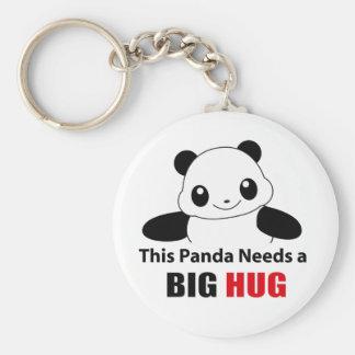 This panda need a big hug basic round button keychain