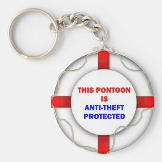 This Pontoon is Anti Theft Protected Basic Round Button Keychain
