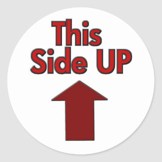 This Side Up Round Sticker