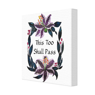 """This Too Shall Pass"" Watercolor Lily Wreath Canvas Print"