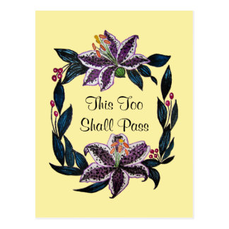 """""""This Too Shall Pass"""" Watercolor Lily Wreath Postcard"""