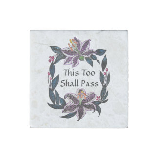 """This Too Shall Pass"" Watercolor Lily Wreath Stone Magnets"