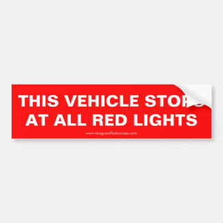 """This Vehicle Stops"" bumper sticker"