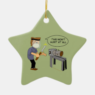This Won t Hurt Funny Woodturning Cartoon Christmas Ornaments
