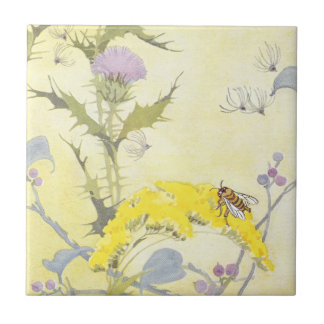 Thistle and Bee on Goldenrod Ceramic Tiles