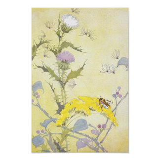 Thistle and Bee on Goldenrod Poster