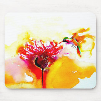 """Thistle for One"" Hummingbird Print on Mouse Pad"