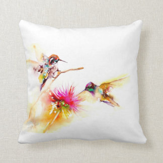 """Thistle for Two"" Hummingbird Print on Throw Pillow"