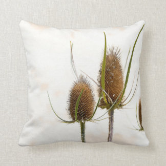thistle head on abstract throw pillow