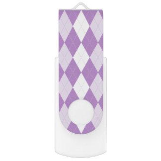 Thistle Purple Argyle Pale Violet Small Diamond Swivel USB 3.0 Flash Drive